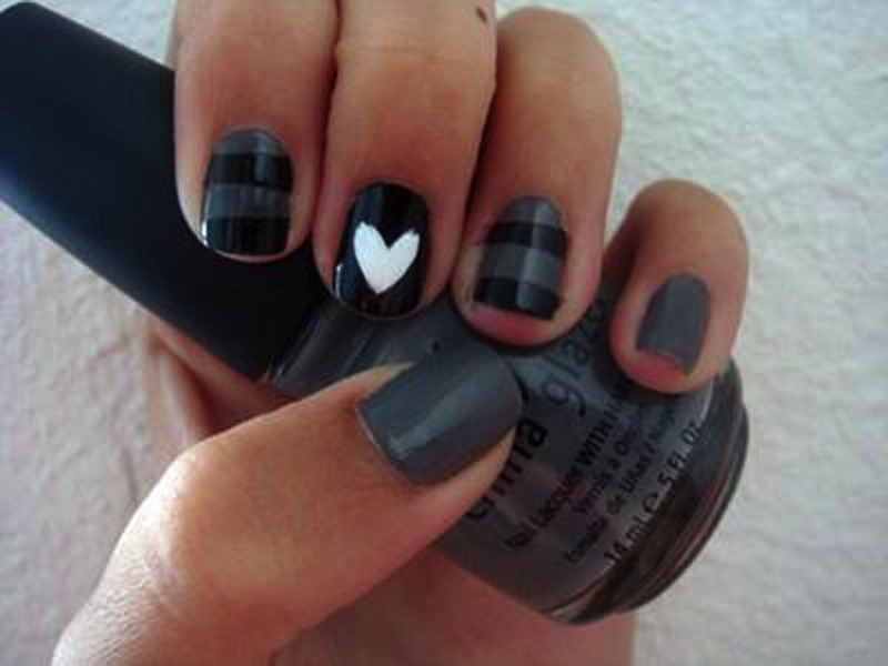 Cute Nail Designs Black and Grey