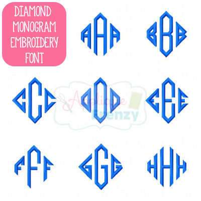 7 Diamond Monogram Embroidery Font Images