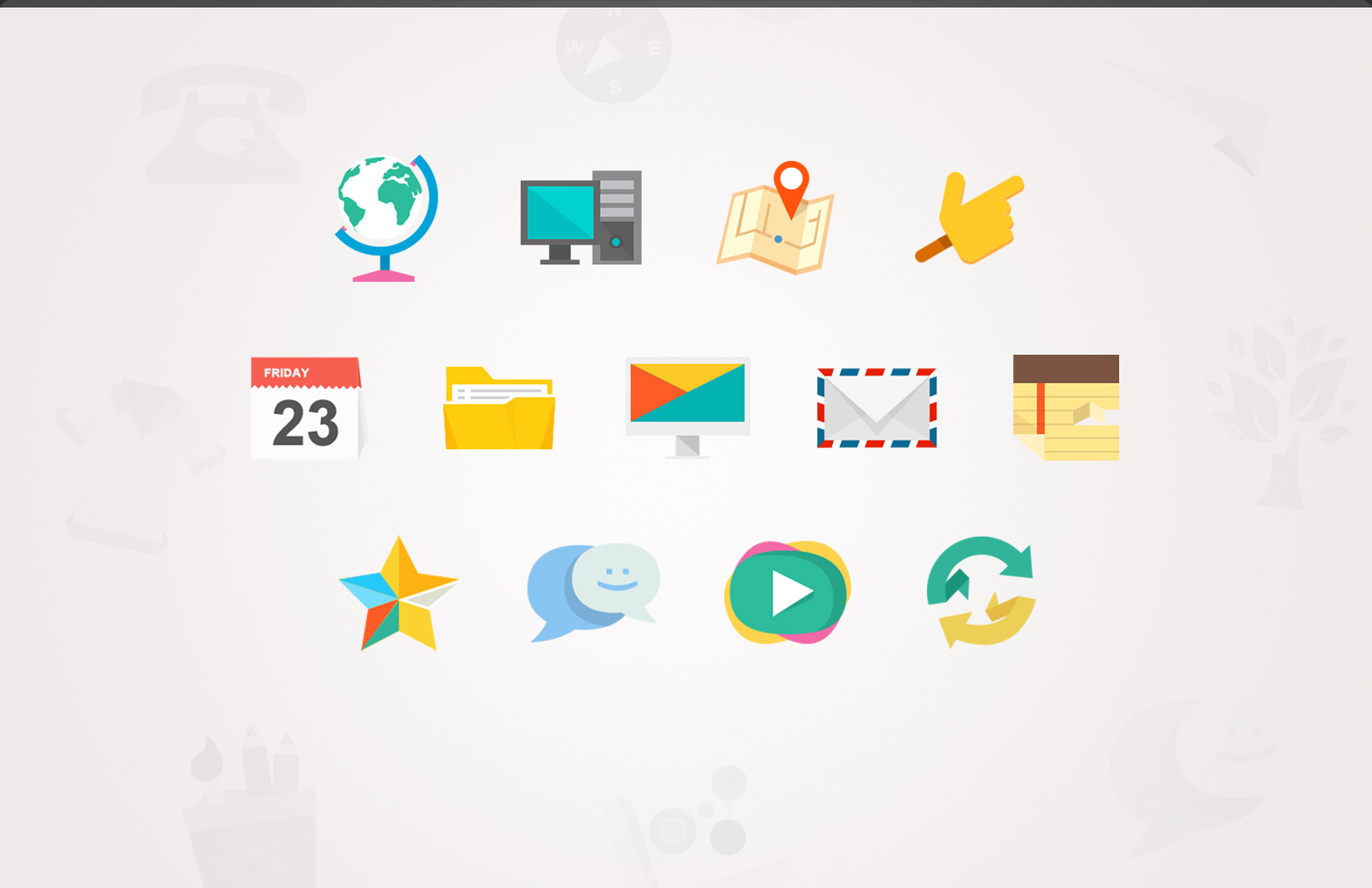 13 Flat Icon Pack Images