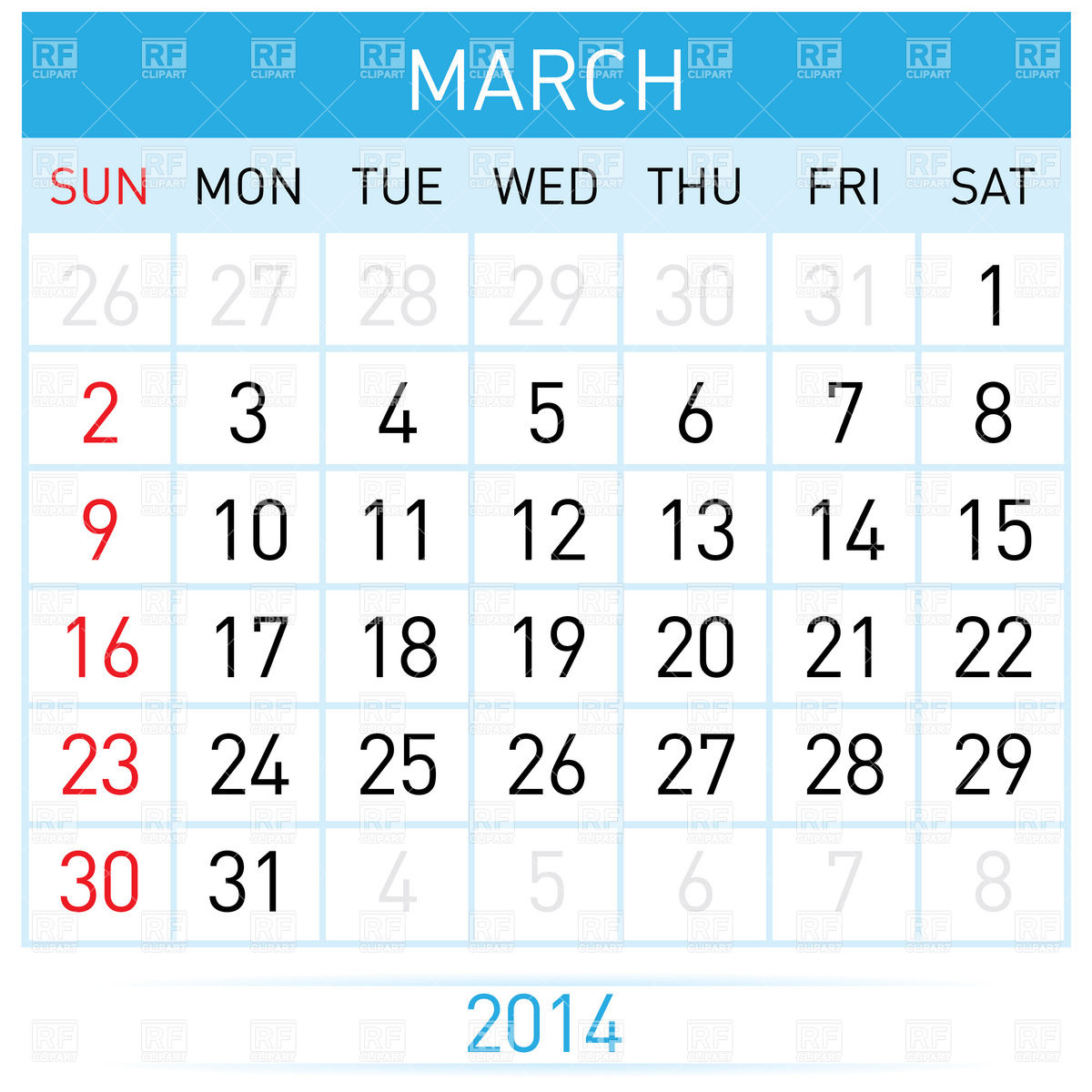 Free 2014 Calendar by Month