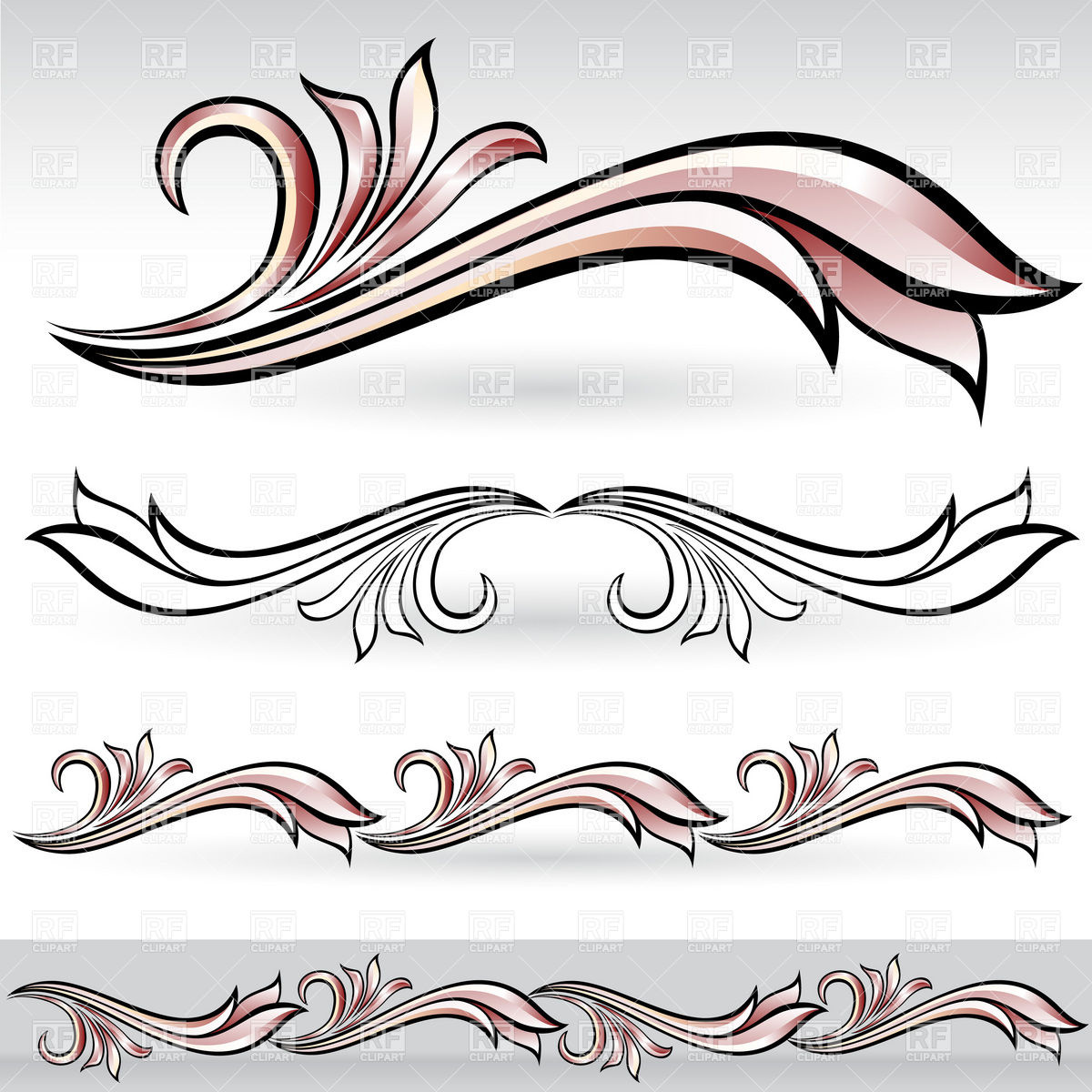 7 Decorative Design Elements Vector Images
