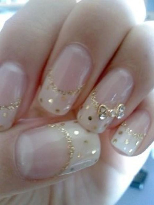 Gold Nails with Bows