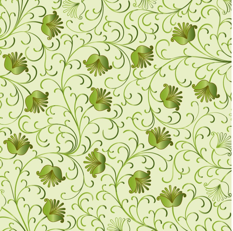 Green Floral Vector Free