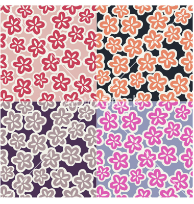 Japanese Seamless Patterns Vector