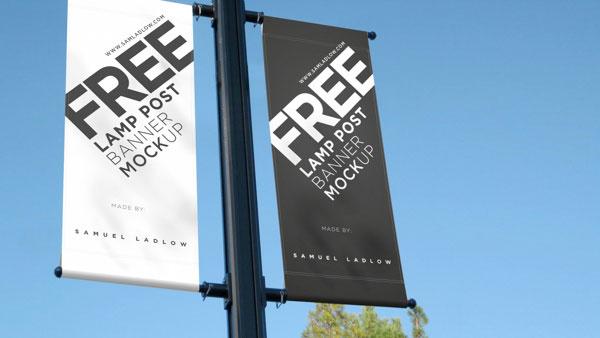 Lamp Post Free Banner Mockup