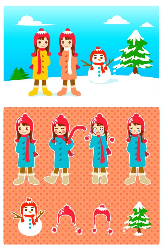 Little Girl and Snowman Cartoon