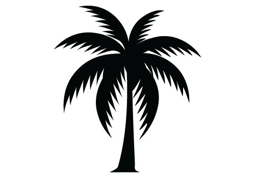 14 Bent Palm Tree Silhouette Vector Images