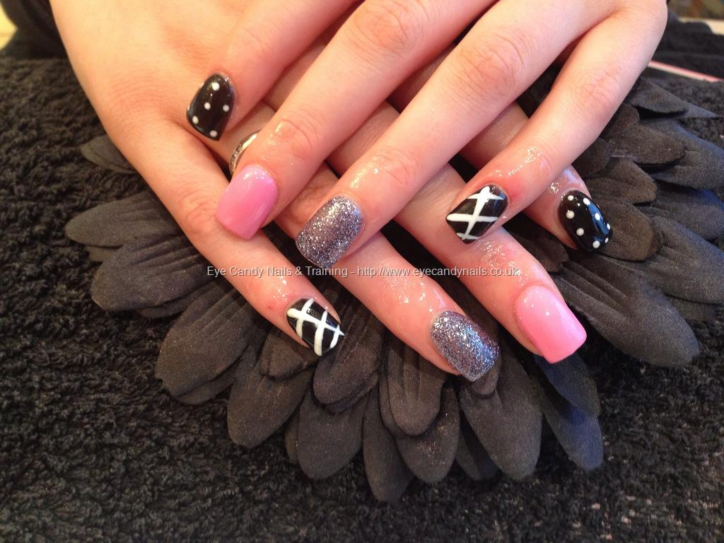 Pink Acrylic Nail Art Black and White
