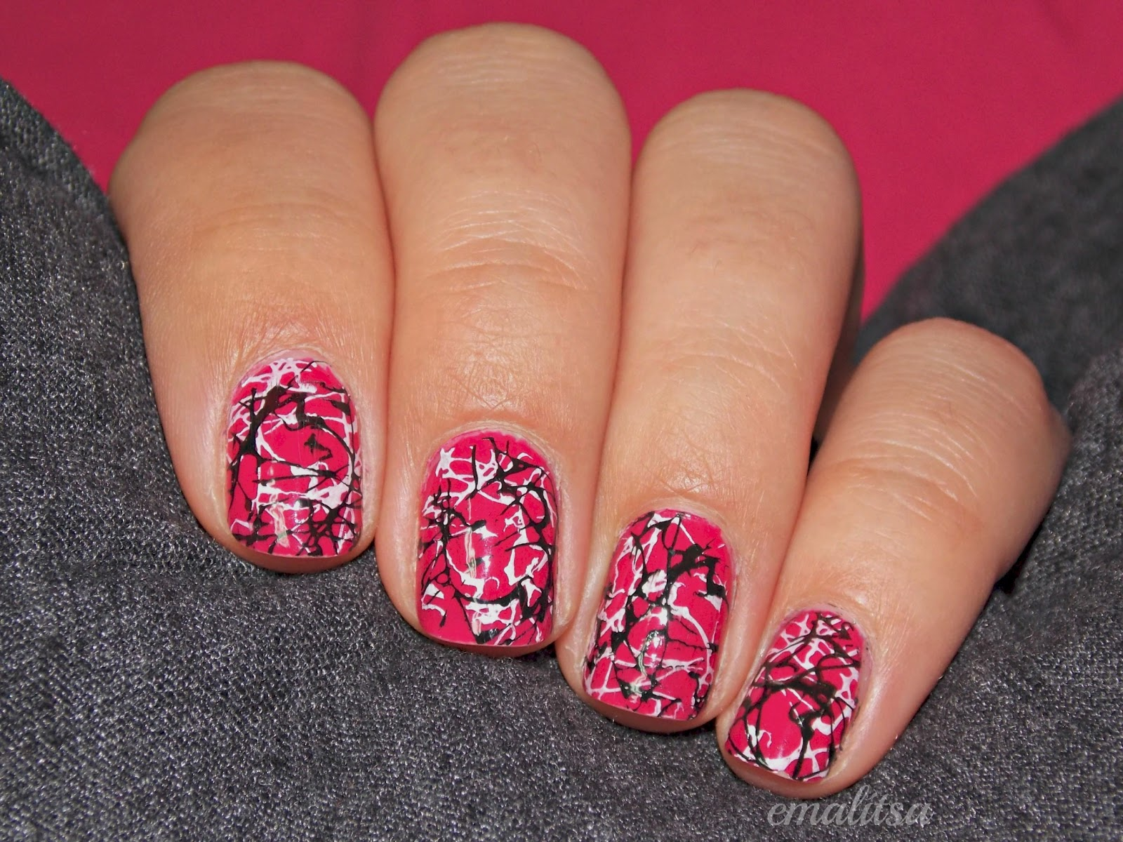 Pink and Black Nail Art