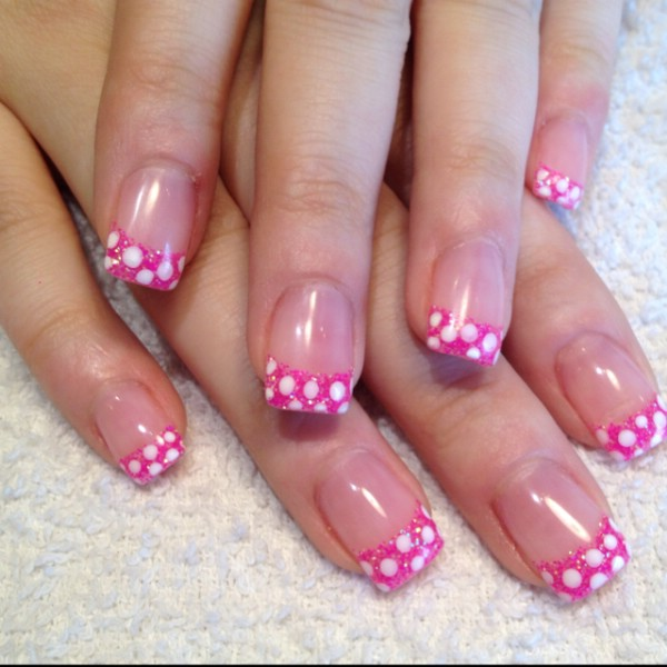 Pink and White Gel Nail Designs