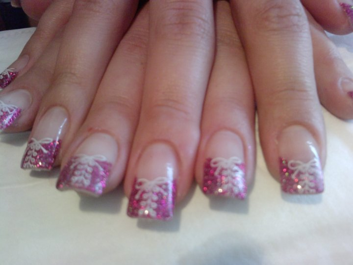 Pink and White Nails with Design