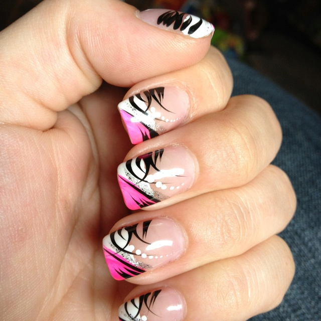10 Pink Black And White Gel Nail Designs Images , Pink Black