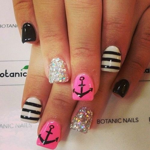 Pink Black And White Nail Design 10 Gel Designs Images
