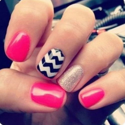 Pink Glitter Chevron Nails