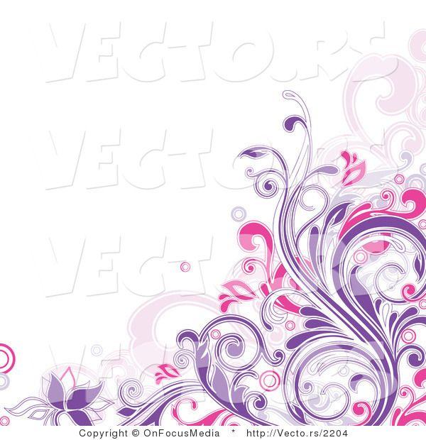 Purple Flower Corner Border Clip Art