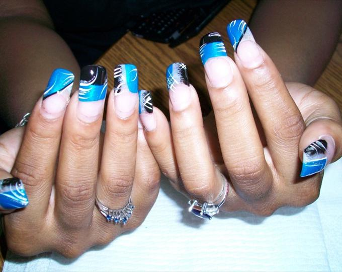 Nail design blue and black blue and black nail design view images nail art designs blue black ideas prinsesfo Gallery
