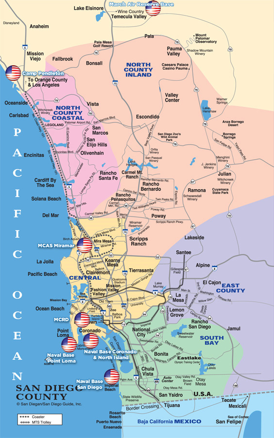 San Diego County California Map