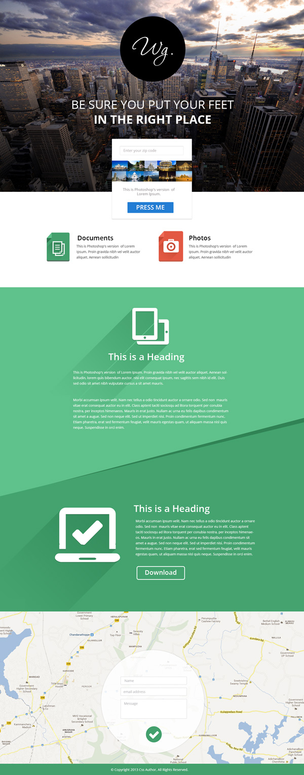 Single-Page Website Template PSD