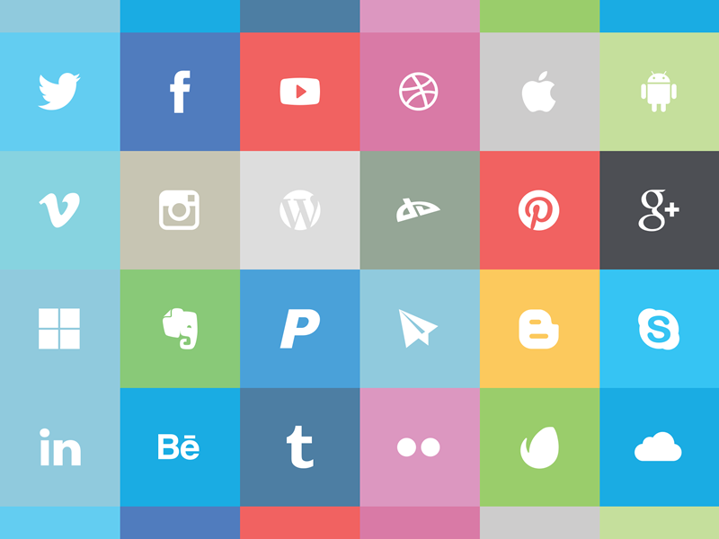 19 Flat Social Icons Images