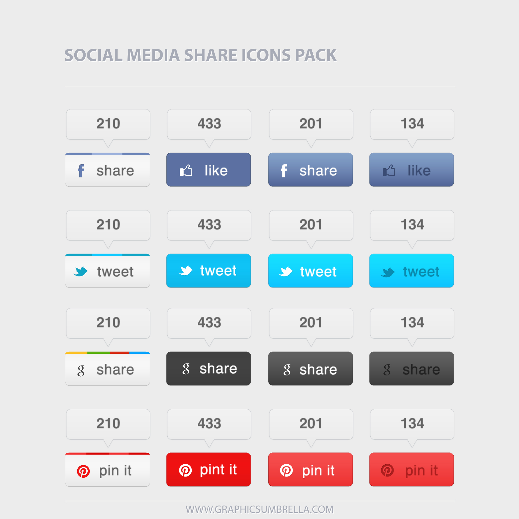 11 Share Social Buttons PSD Images