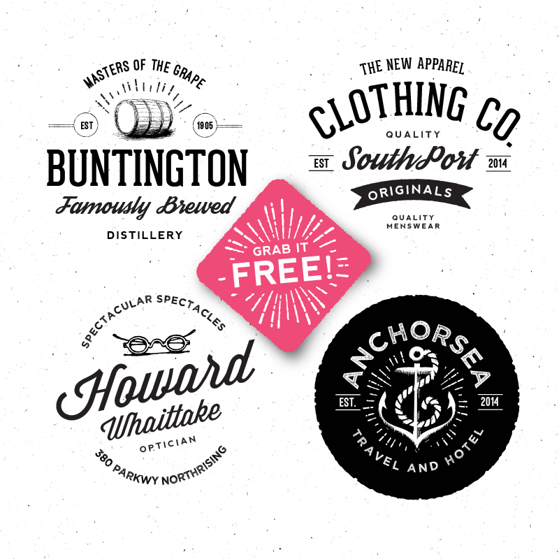 9 Retro Badge PSD Template Images - Photoshop PSD, Vintage Logos