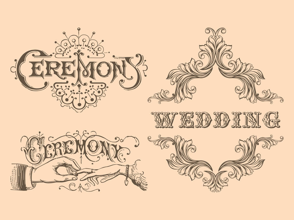 13 Vintage Wedding Vector Images