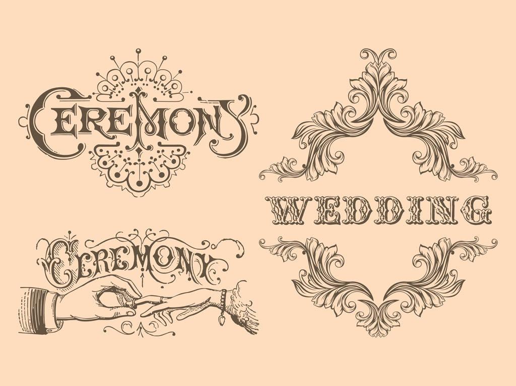 13 Vintage Wedding Vector Images