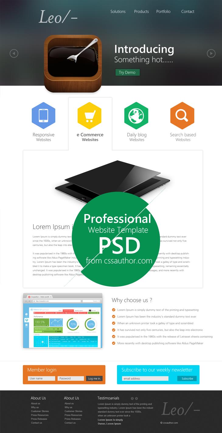 20 Web Design Psd Templates Images Website Design