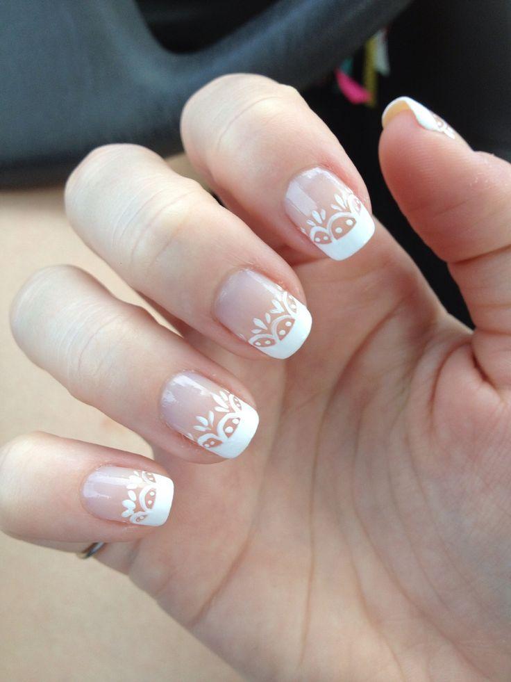 White Lace Wedding Nail Designs