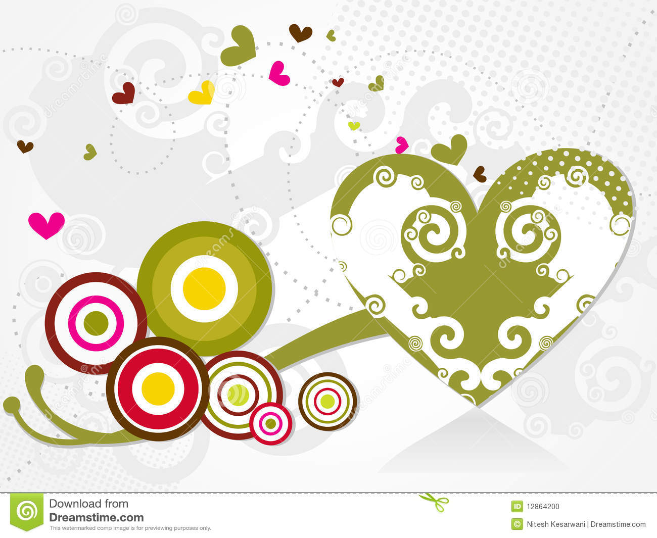 Abstract Vector Heart Swirls