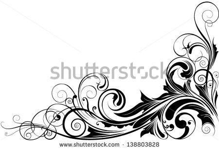 Corner Black Swirls Designs