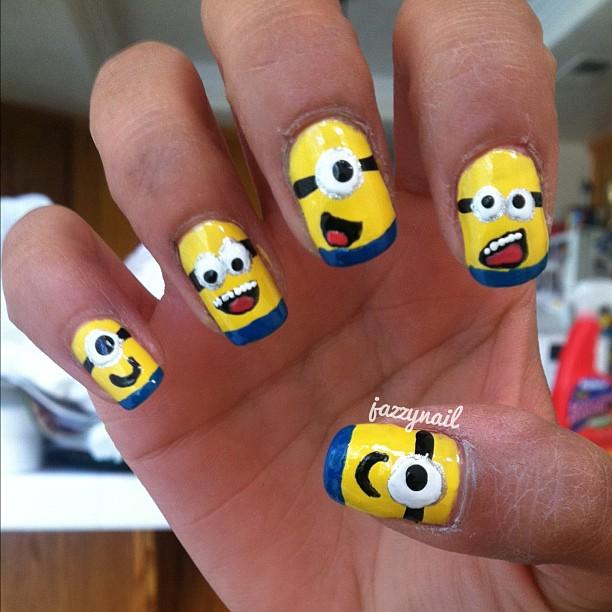 Cute Minion Nail Art Design