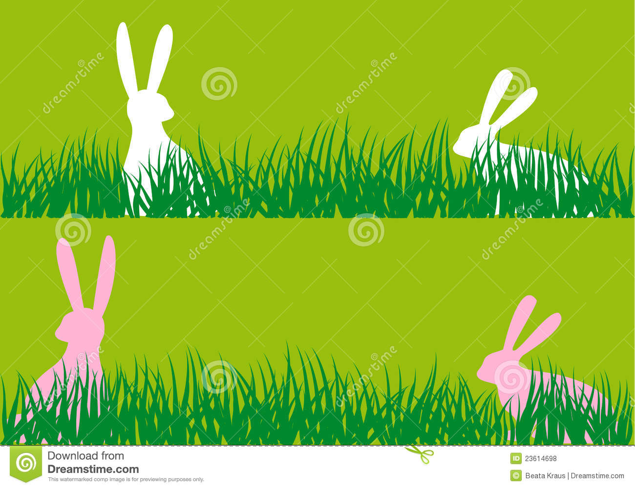Easter Bunnies in Grass Image