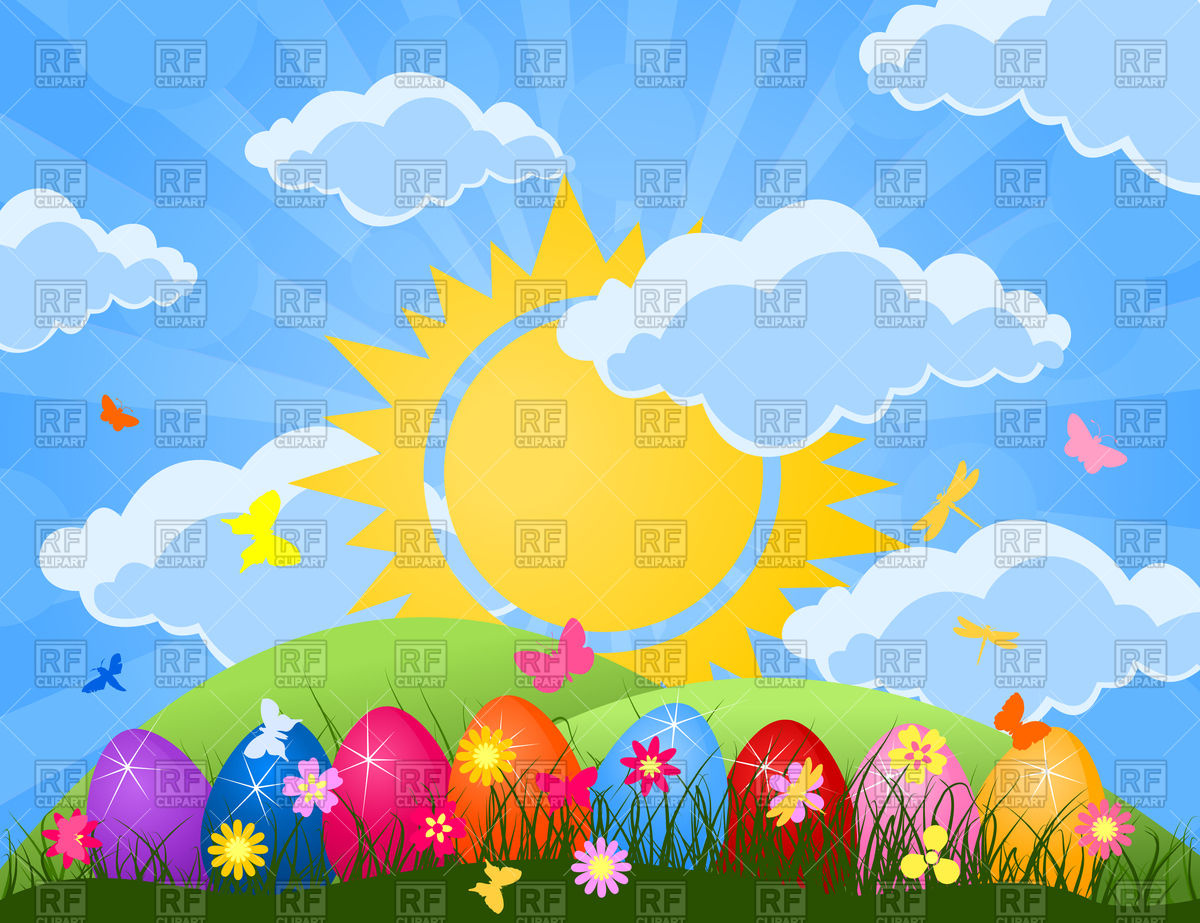 Free Clip Art Easter Eggs in Grass