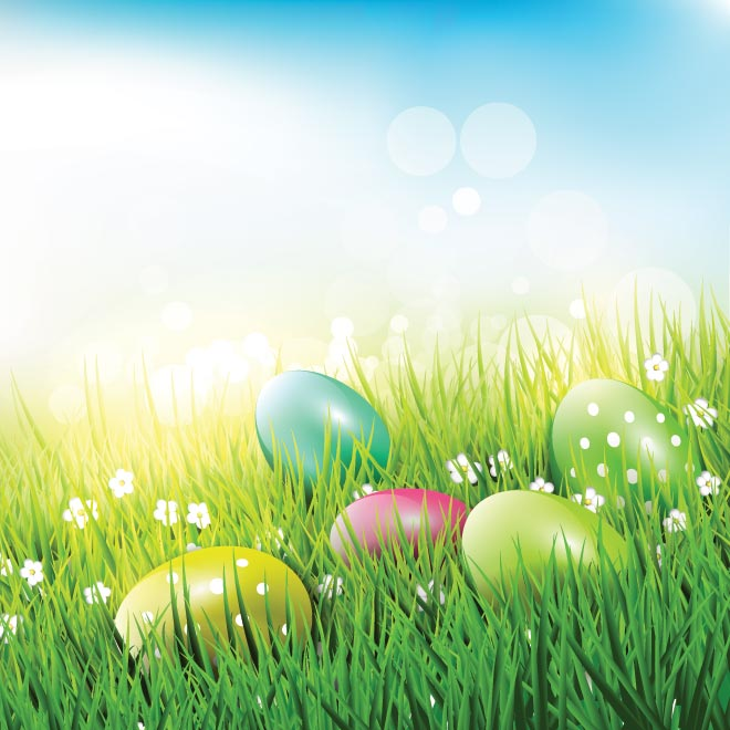 Free Vector Easter Eggs in Grass