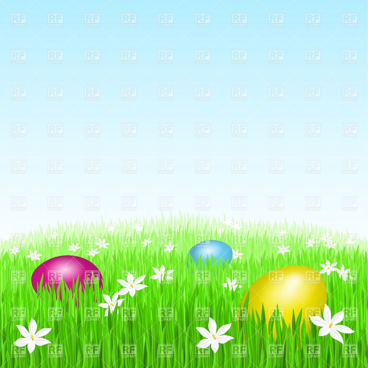 Grass with Easter Eggs Clip Art