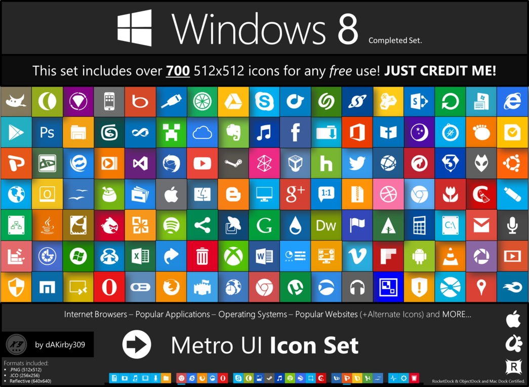 13 Metro UI Dock Icon Set Images
