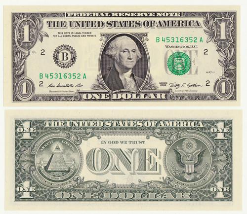 New United States 1 Dollar Bill