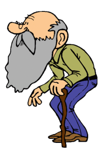 Old Man With Cane Clip Art