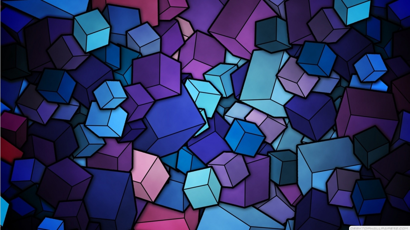 Purple Blue Abstract Art Geometric Stained Glass Cubes