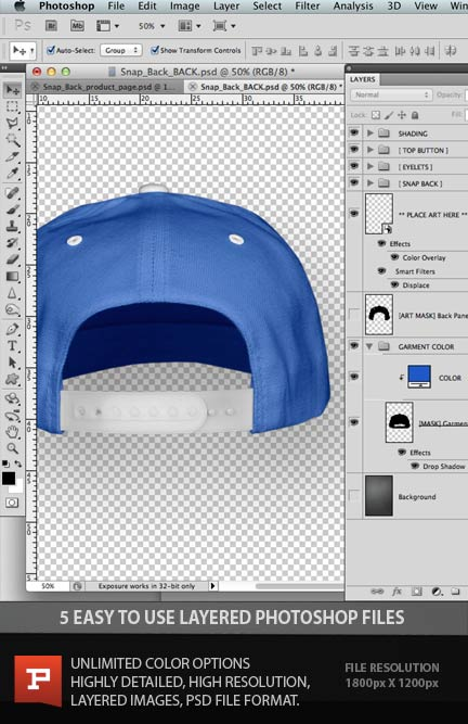 12 Hat Snapback Template PSD Images