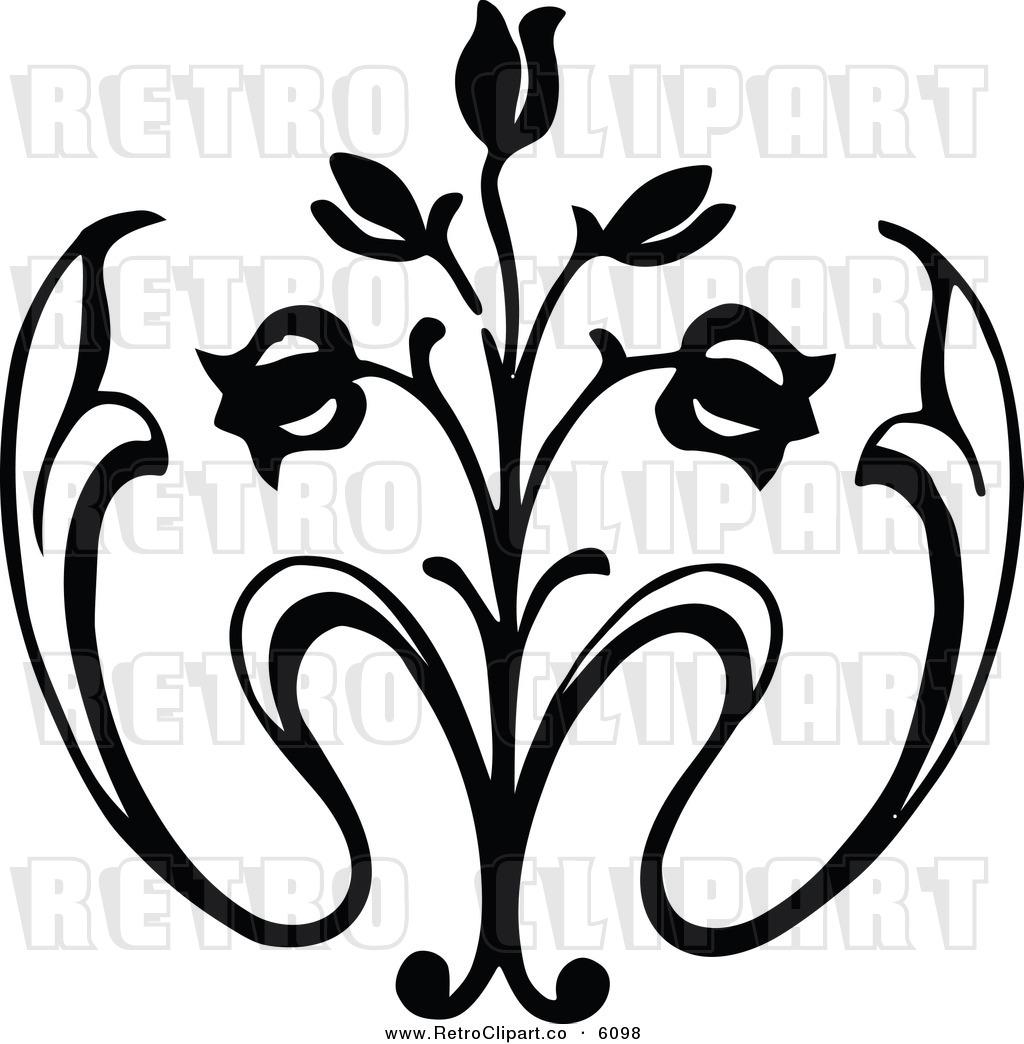16 Black Vintage Rose Vector Images