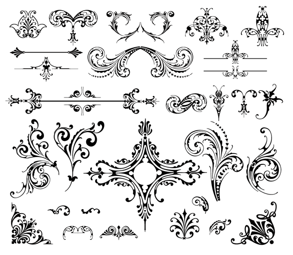 Wedding Floral Ornaments Vector Free