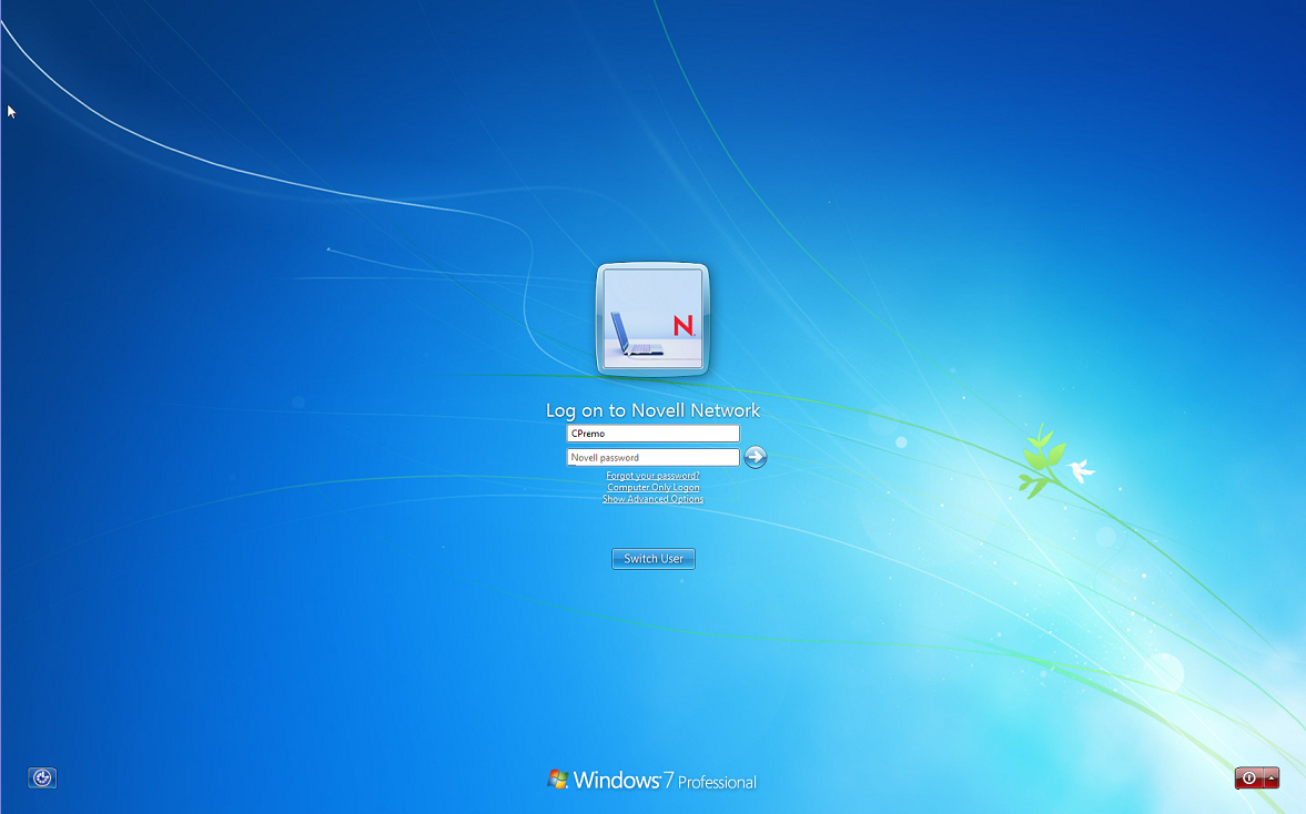 Windows 7 Enterprise Login Screen