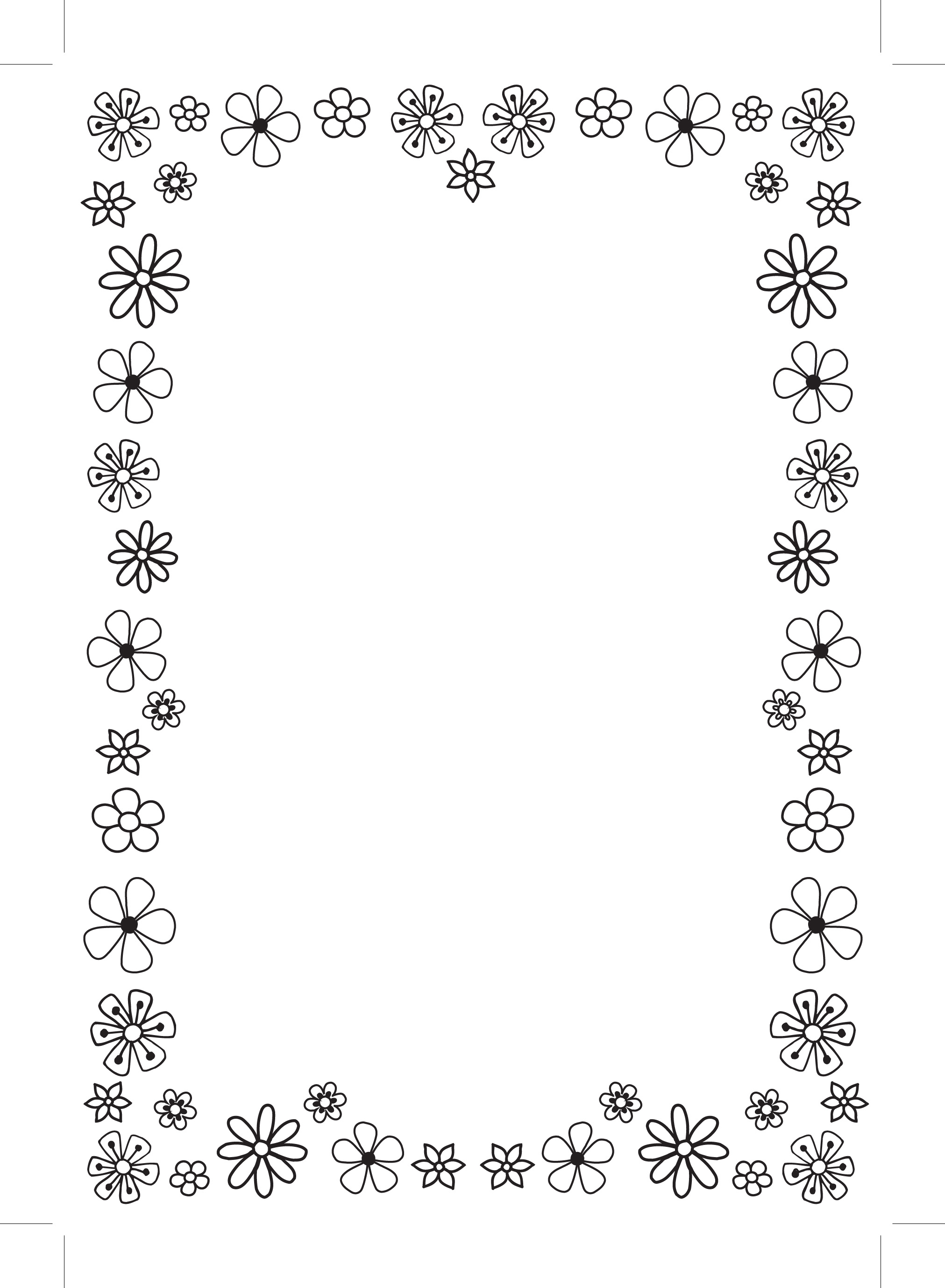 10 flower border design paper images flower page border clip art black and white flower border paper mightylinksfo Image collections
