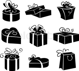 7 Black And White Gift Icons Images