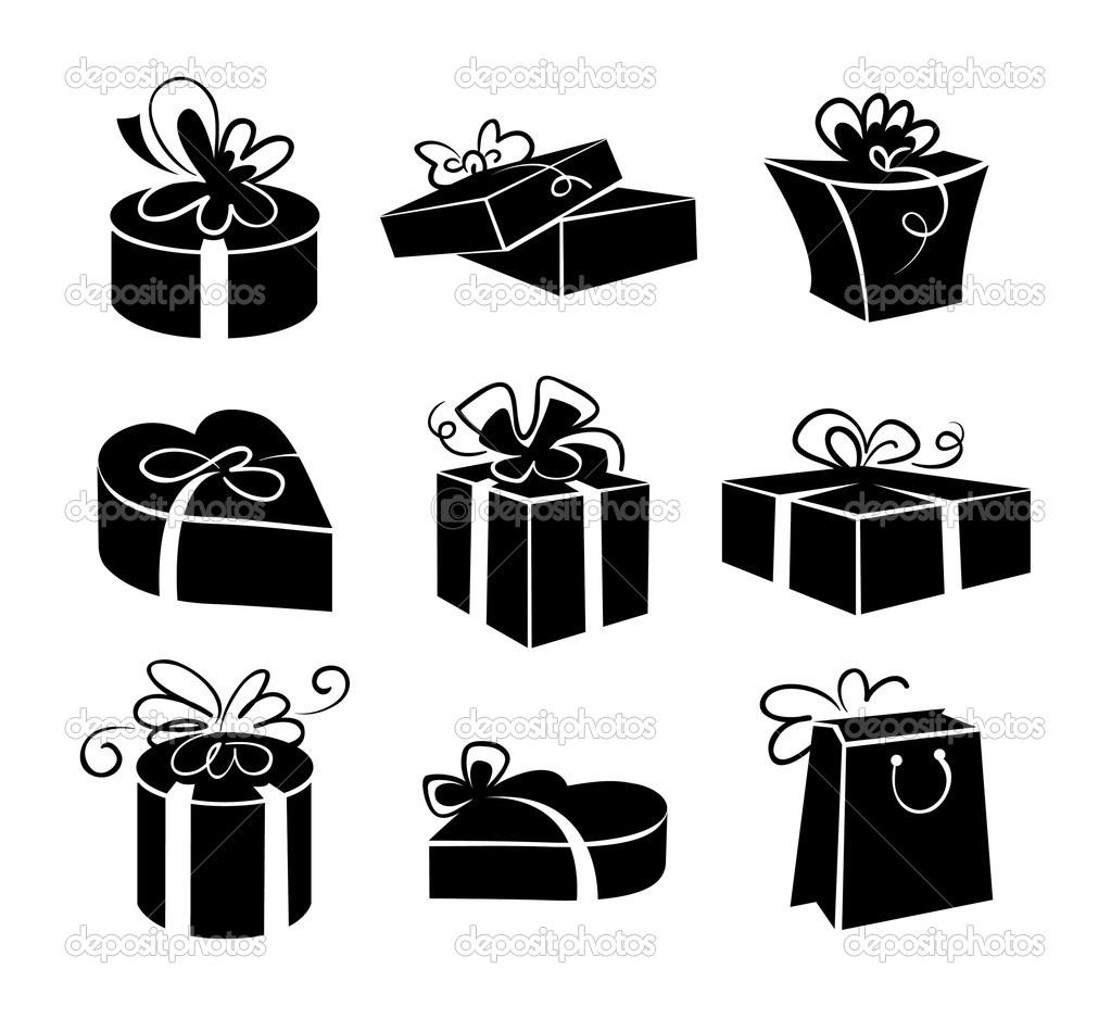 Black and White Gift Box Clip Art