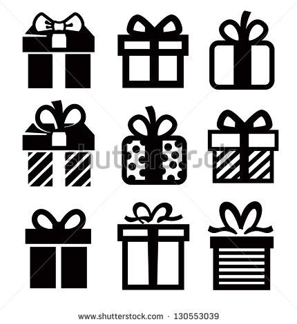 Black and White Present Icon