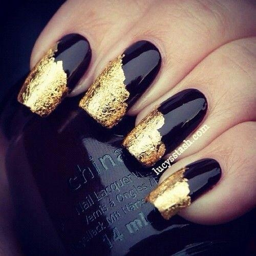 15 Black And Gold Nail Polish Designs Images