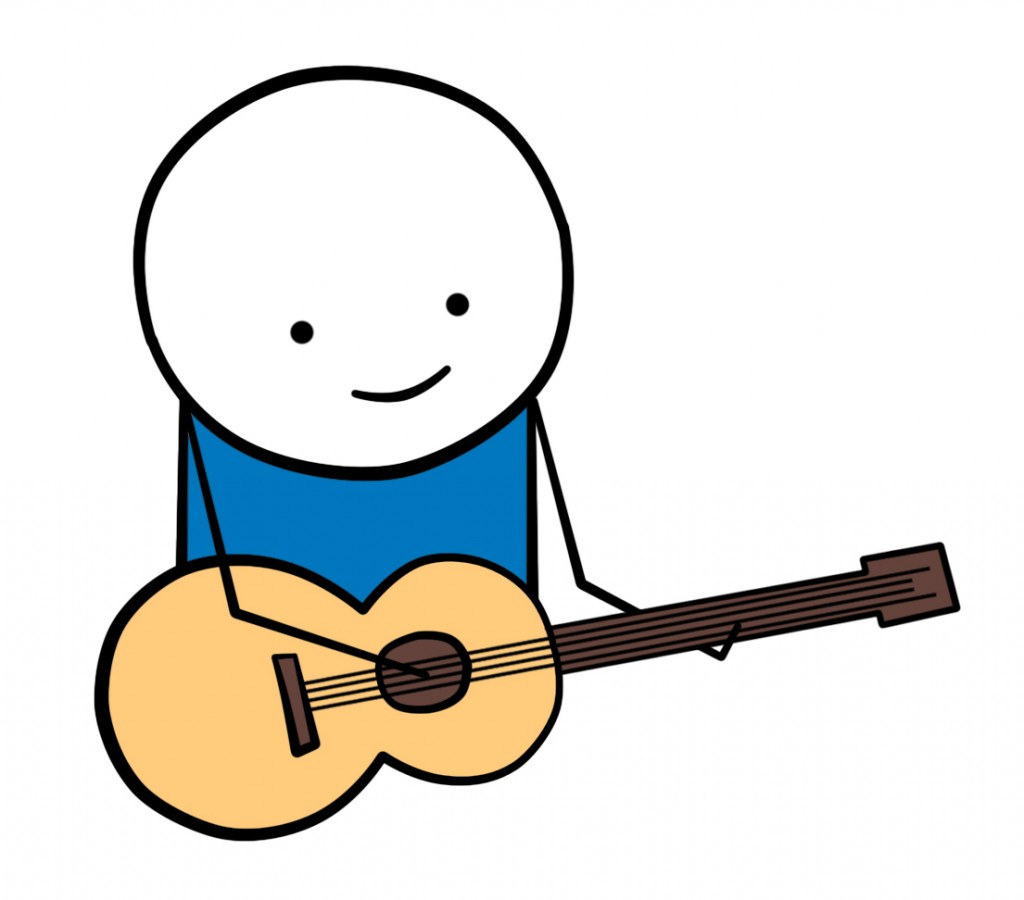 Cartoon Boy Playing Guitar